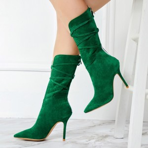 Green Suede Boots Pointed Toe Stiletto Heel Mid Calf Boots