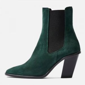 Green Suede Chelsea Boots Chunky Heels Ankle Boots