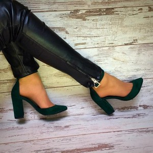 Dark Green Chunky Heels Ankle Strap Heels Pumps