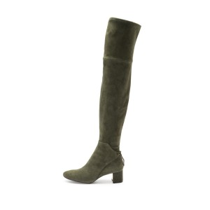 Green Suede Chunky Heel Boots Over the Knee Boots