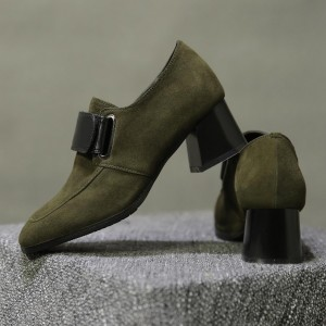 Green Suede Chunky Heel Loafers for Women