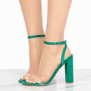 Green Suede Chunky Heel Clear Ankle Strap Sandals