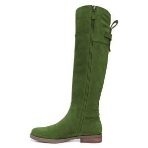 Green Suede Flat Knee Boots Knee High Boots