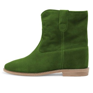 Green Suede Boots Winter Flat Short Boots