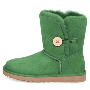 Green Suede Flat Winter Boots