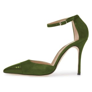 Green Suede Pointy Toe Ankle Strap Heels Pumps