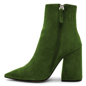 Green Suede Pointy Toe Block Heel Ankle Booties