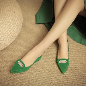 Green Suede Pointy Toe Flats Comfortable Shoes