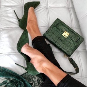 Dark Green Suede Pointy Toe Stiletto Heels Pumps Office Shoes