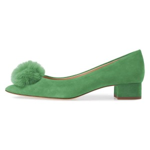 Green Suede Shoes Ball Chunky Heel Pumps