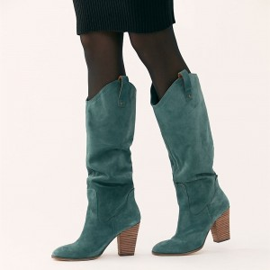 Green Suede Slouch Boots Chunky Heel Knee High Boots