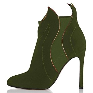 Green Suede Stiletto Heel Fashion Ankle Booties