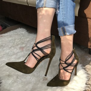 Green Suede Stiletto Heels T Strap Strappy Pumps