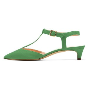 Green T Strap Heels Pointy Toe Slingback Kitten Heel Pumps
