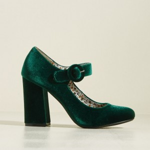 Green Velvet Mary Jane Pumps Block Heel Vintage Shoes