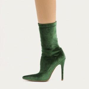 Green Velvet Stiletto Heels Sock Boots Pointy Toe Ankle Booties