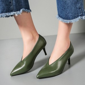 Green Vintage Heels Pointy Toe Women's Kitten Heel Pumps
