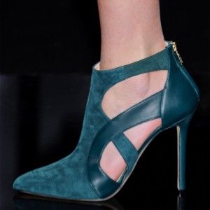 Green Zipper Fashion Boots Pointy Toe Stiletto Heels Ankle Booties