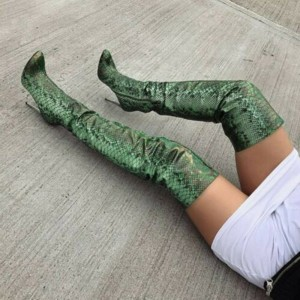 Green Snakeskin Boots Pointed Toe Stiletto Heel Thigh High Boots