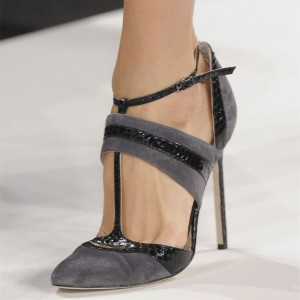 Grey and Black Python Suede Stiletto Heels T Strap Pumps by FSJ