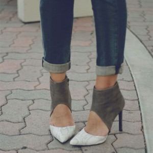 Grey And White Python Stiletto Boots Cut Out Ankle Boots
