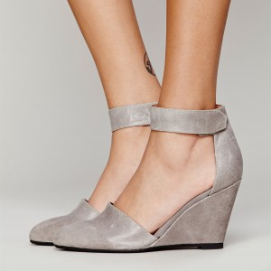 Grey Ankle Strap Wedge Heels Pumps