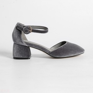 Grey Vintage Heels Suede Block Heel Sandals for Ladies