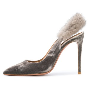 Grey Furry Stiletto Heels Slingback Pumps