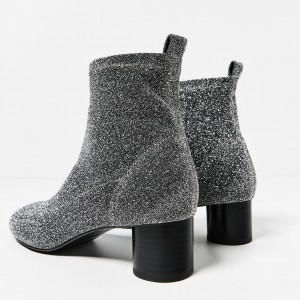 Women's Grey Fashion Boots Chunky Heel Boots Office Heels Ankle Boots