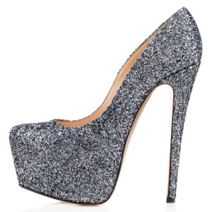 Grey Glitter Shoes Super Stiletto Heels Platform Pumps