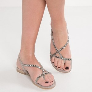Grey Jeweled Sandals Beach Flats Summer Sandals