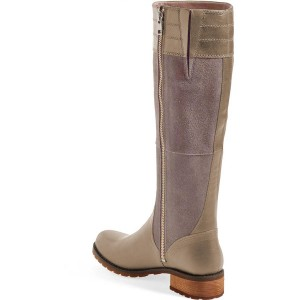 Grey Riding Boots Side Zipper Round Toe Low Heel Knee Boots