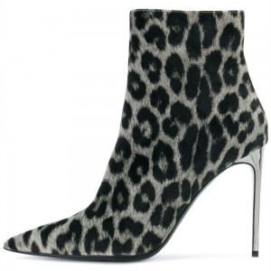 Grey Leopard Print Boots Stiletto Heel Ankle Boots