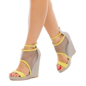 Grey Mesh Wedge Sandals Open Toe Ankle Strap Platform Sandals