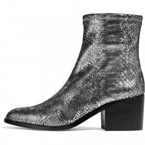 Grey Metallic Python Chunky Heel Ankle Booties