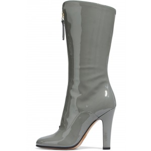 Grey Patent Leather Zip Chunky Heel Boots Knee High Boots