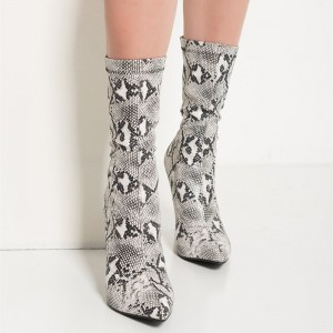 Grey SnakeSkin Booties Pointy Toe Stiletto Heel Fashion Mid Calf Boots