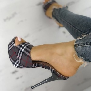 Grey Plaid Platform Peep Toe Stiletto Heel Mules