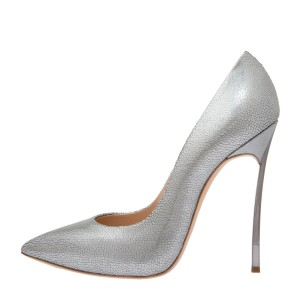 Silver Pointy Toe Stiletto Heels Pumps Office Shoes