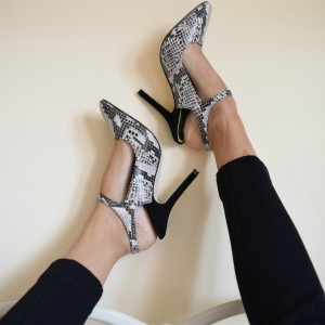 Grey Python Ankle Strap Heels Pointy Toe Stiletto Heels Pumps