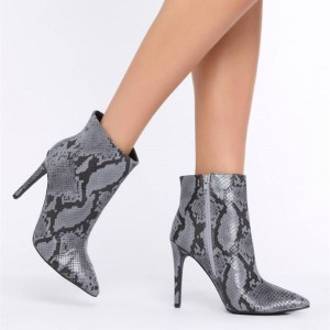 Grey Snakeskin Booties Stiletto Heel Pointy Toe Fashion Ankle Boots