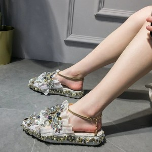Grey Rhinestone Jeweled Sandals Platform Sandals