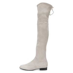 Grey Round Toe Chunky Heels Long Boots Suede Over-the-knee Boots