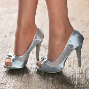 Grey Satin Platform Bow Heels Peep Toe Stiletto Heel Lace Bridal Shoes
