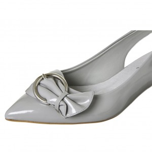 Grey Slingback Pumps Buckle Bow Block Heels Comfortable Shoes
