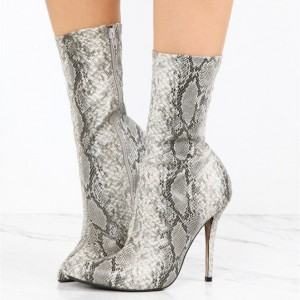 Fashion Grey Stiletto Boots Python leather Zip Pointy Toe Ankle Boots