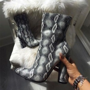 Grey Snakeskin Boots Cylindrical Heel Fashion Ankle Booties