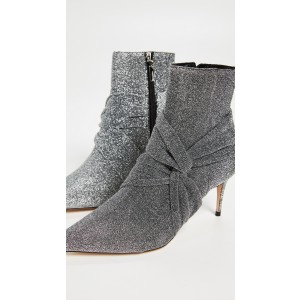Grey Sparkly Pointy Toe Stiletto Boots Fashion Ankle Booties with Zip