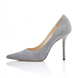 Grey Sparkly Star Pointy Toe Stiletto Heels Pumps Office Shoes