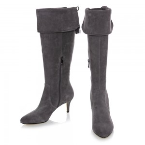 Grey Stiletto Heels Tassels Fashion Boots Lapel Suede Knee High Boots